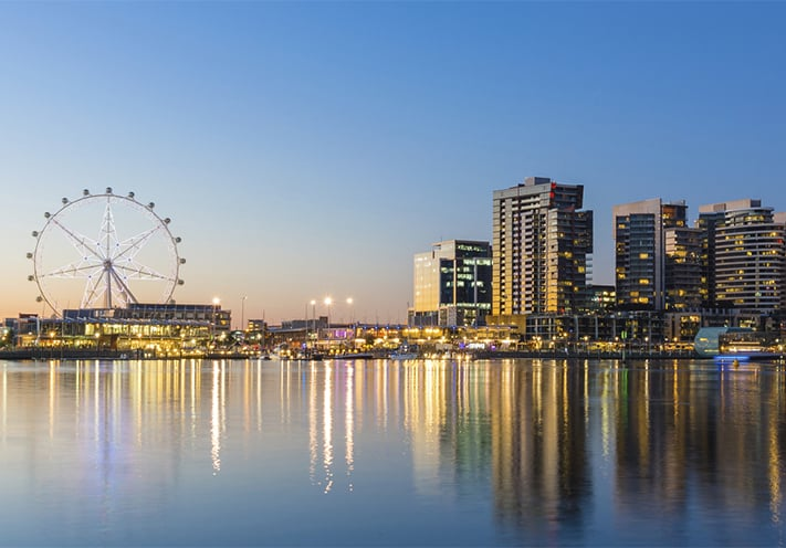 du-lịch-úc-Panoramic image of the docklands waterfront area of Melbourne at night